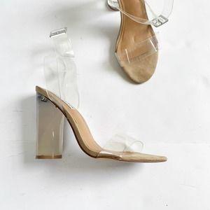 Steve Madden Clearer Clear Sandal Lucite US 7